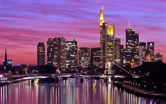 Обои город Франкфурт, ночь, Германия, небоскребы, река, мост, освещение