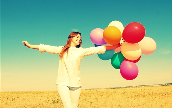 Wallpaper Freedom girl in summer, colorful balloons