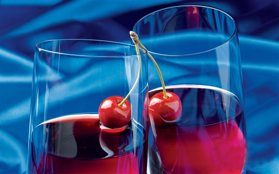 Wallpaper Fruit juice, cherry, glass cups