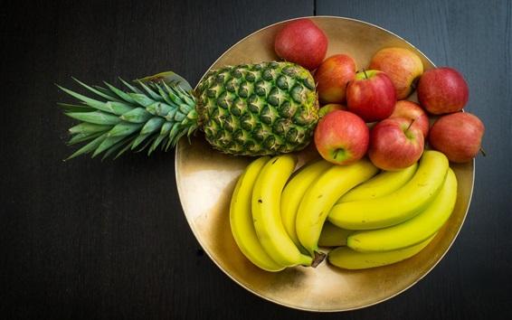 Fond d'écran Photographie de fruits, ananas, banane, pommes