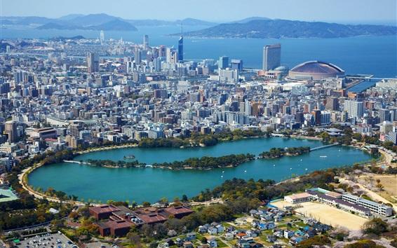 Wallpaper Fukuoka, Japan, city, houses, lake, park, sea