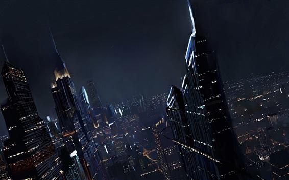 Обои Будущий город, небоскребы, ночь, искусство рисунок