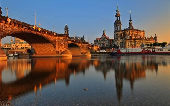 Papéis de Parede Alemanha, Dresden, cidade, predios, ponte, Rio, pôr do sol