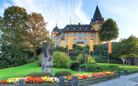 Fond d'écran Allemagne, Genovevaburg, Mayen, ville, château, herbe, jardin