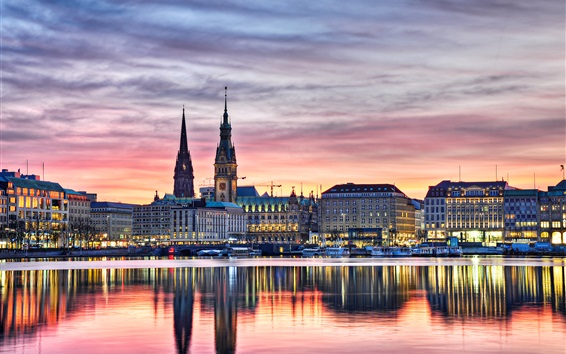 Wallpaper Germany, Hamburg, buildings, lights, evening, river, boats, water reflection, sunset