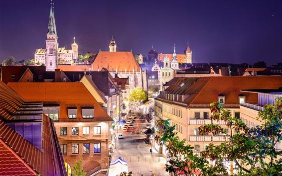 Fondos de pantalla Alemania, Nuremberg, ciudad, calle, casas, luces, noche