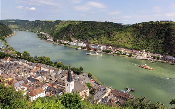 Wallpaper Germany, Sankt Goar, city, mountains, river, boats