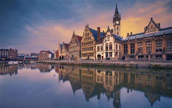 Fond d'écran Gand, Belgique, rivière, maisons, crépuscule