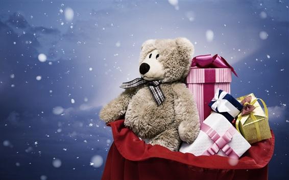 Обои Подарок, игрушка медведь, коробки