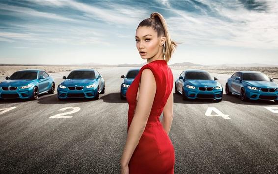 Wallpaper Gigi Hadid, BMW M2 blue cars