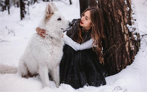 Wallpaper Girl and white dog in winter