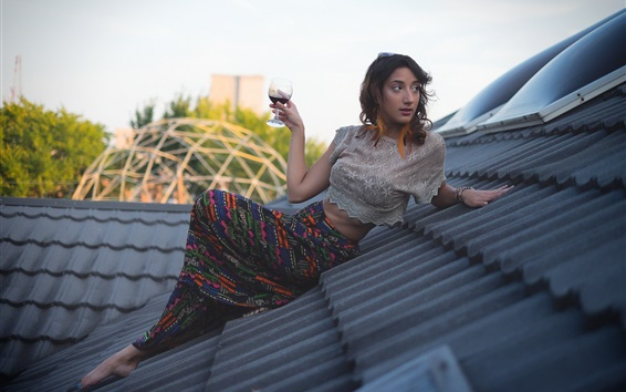 Wallpaper Girl drink wine on roof