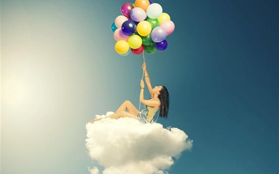 Fond d'écran Girl, séance, nuages, coloré, ballons, créatif ...
