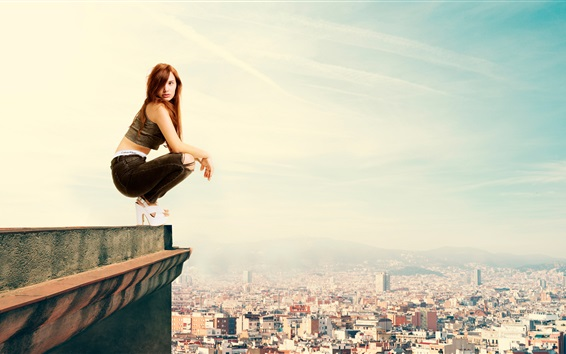 Wallpaper Girl standing at roof side, height, city