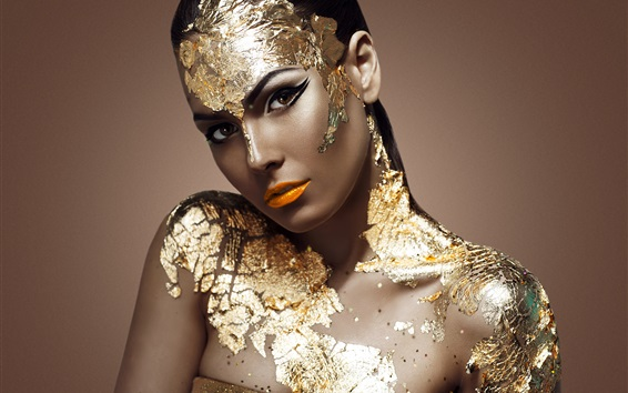 Wallpaper Golden dress girl, model, makeup