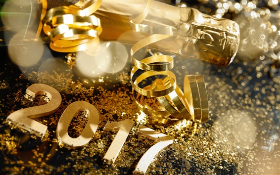 Wallpaper Golden style 2017, Happy New Year, champagne