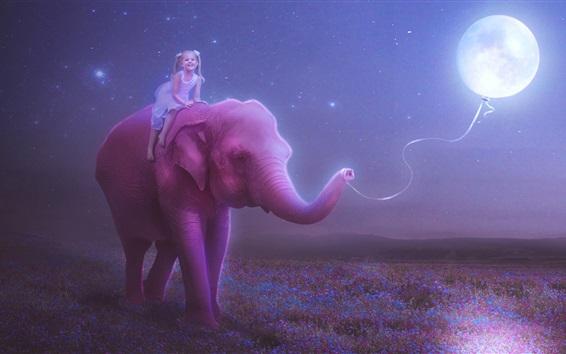 壁紙 幸せの子供の女の子、象、月、風船、夜、創造的な画像