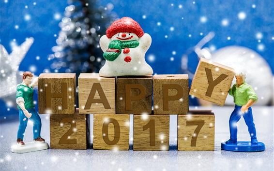 Обои Счастливый 2017, Новый год, снеговик, игрушки, снежинки