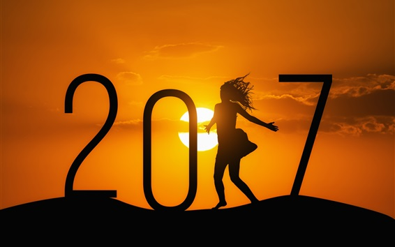 Wallpaper Happy New Year 2017, girl, sunset