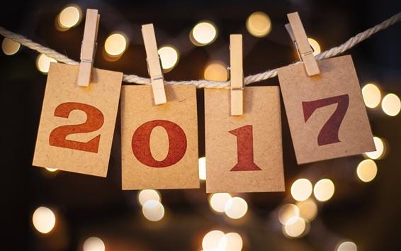 Обои С Новым годом 2017, бумага, веревки, прищепка