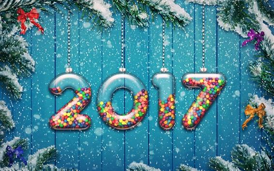 Fondos de pantalla Feliz Año Nuevo 2017, nieve, ramitas, fondo azul