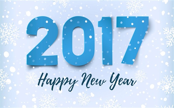Wallpaper Happy New Year 2017, snowflakes