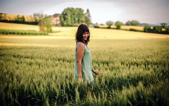 Wallpaper Happy girl in the summer wheat field