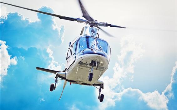 배경 화면 헬리콥터, 비행기, 하늘, 구름