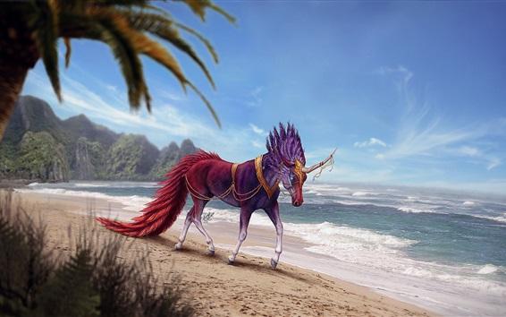 Wallpaper Horse at beach, sea, horn, art picture