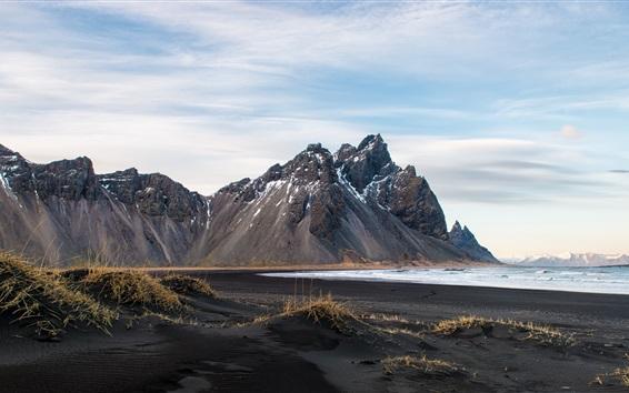Papéis de Parede Islândia, montanhas, costa, mar