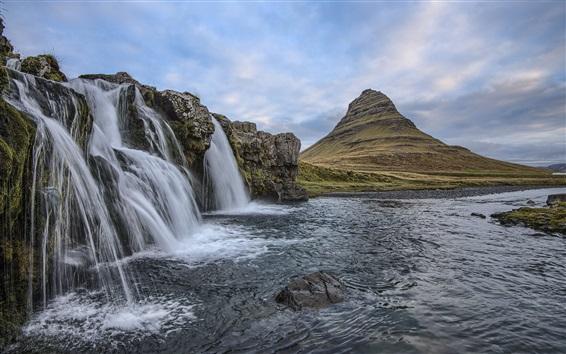 Wallpaper Iceland, waterfalls, mountain