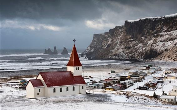 壁紙 アイスランド、冬、教会、海、家、雪