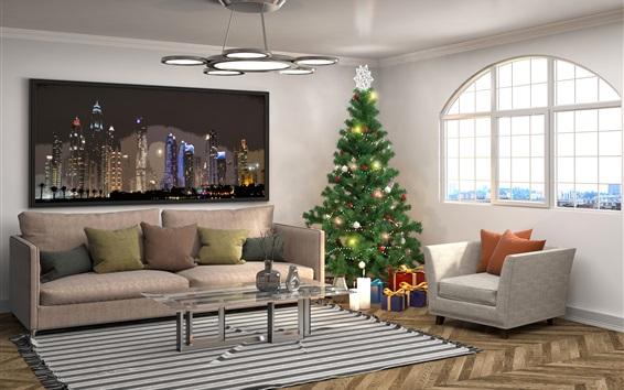 Wallpaper Interior design, Christmas tree, pillow, sofa, window, living room