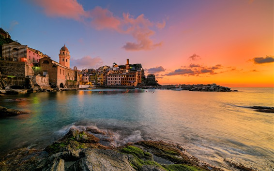 Wallpaper Italy, Cinque Terre, Liguria, coast, sea, houses, sunset, red sky