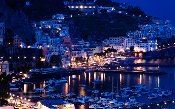 Wallpaper Italy, Positano, Sorrento, pier, night, yachts, boats, houses, lights