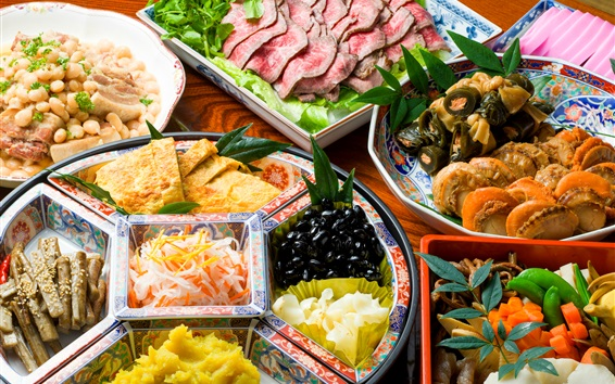 Wallpaper Japanese cuisine, vegetables, seafood, meat, delicious food