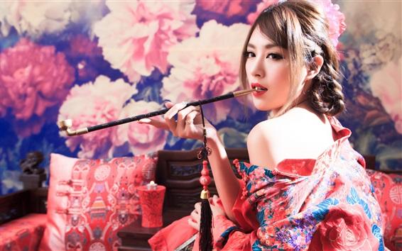 Fond d'écran Fille japonaise, fumer