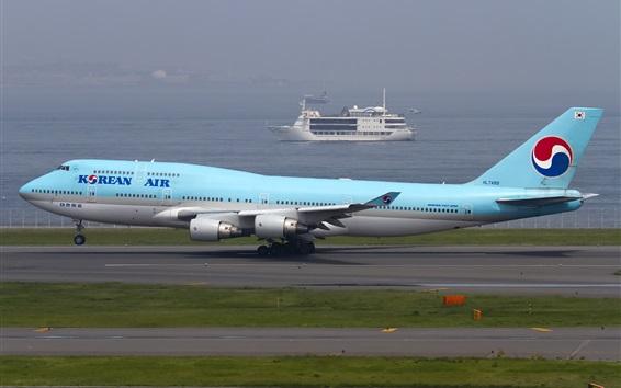 Wallpaper Korean Air, Boeing 747 plane