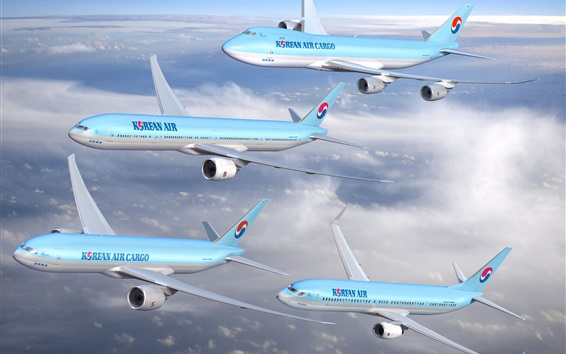 Wallpaper Korean Air, four planes flight in sky