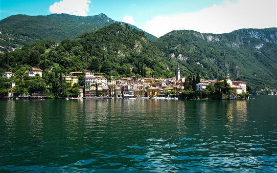 Wallpaper Lake Como, Italy, village, mountains, trees