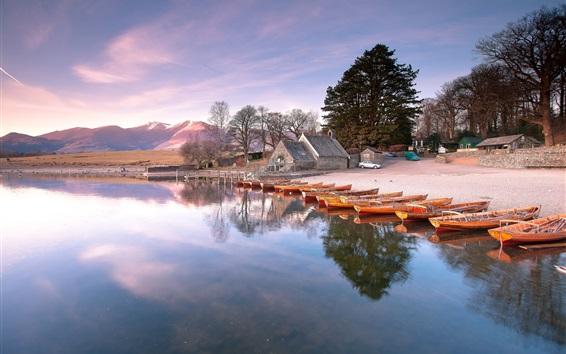 Wallpaper Lake, shore, houses, boats, trees, mountains