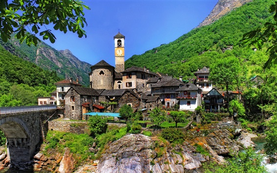 Wallpaper Lavertezzo, Switzerland, Ticino, houses, mountains, river