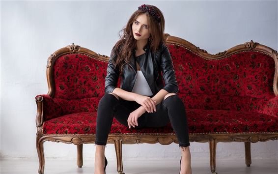 Wallpaper Leather jacket girl sit on sofa
