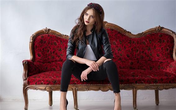 Papéis de Parede Jaqueta, menina, sentando, sofá