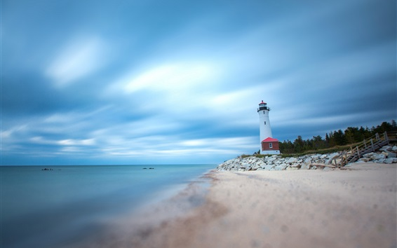 Wallpaper Lighthouse, sea, coast, beach, clouds