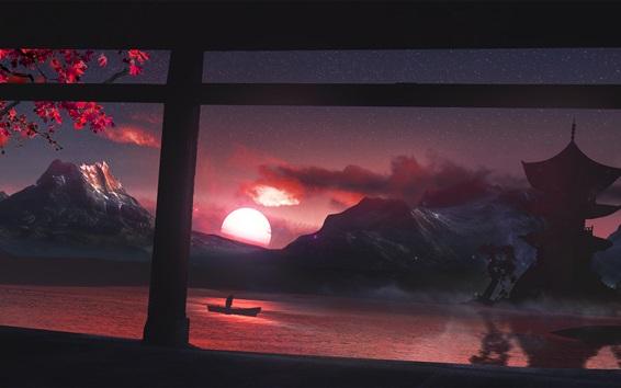 Wallpaper Look out window, lake, boat, mountain, trees, night, stars, sunset, Japan