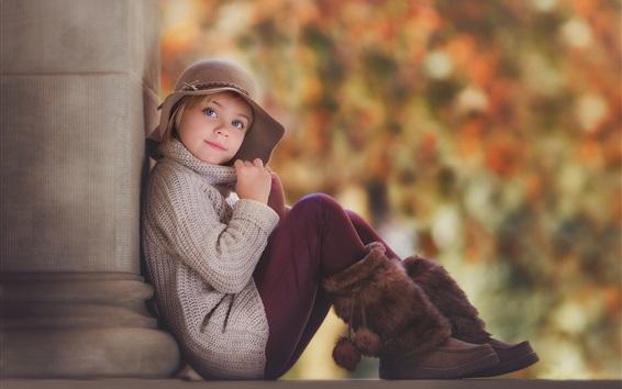 Wallpaper Lovely child girl portrait, autumn, hat