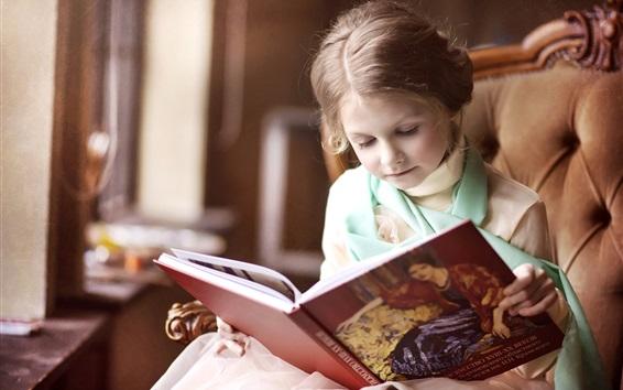 Fond d'écran Adorable, peu, girl, lecture, Livre, chaise