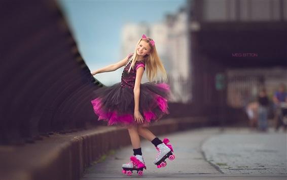 Wallpaper Lovely little girl, street, purple skirt