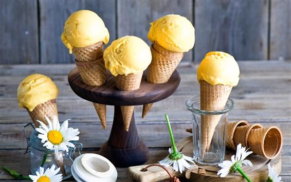 Обои мороженое манго, белые цветы